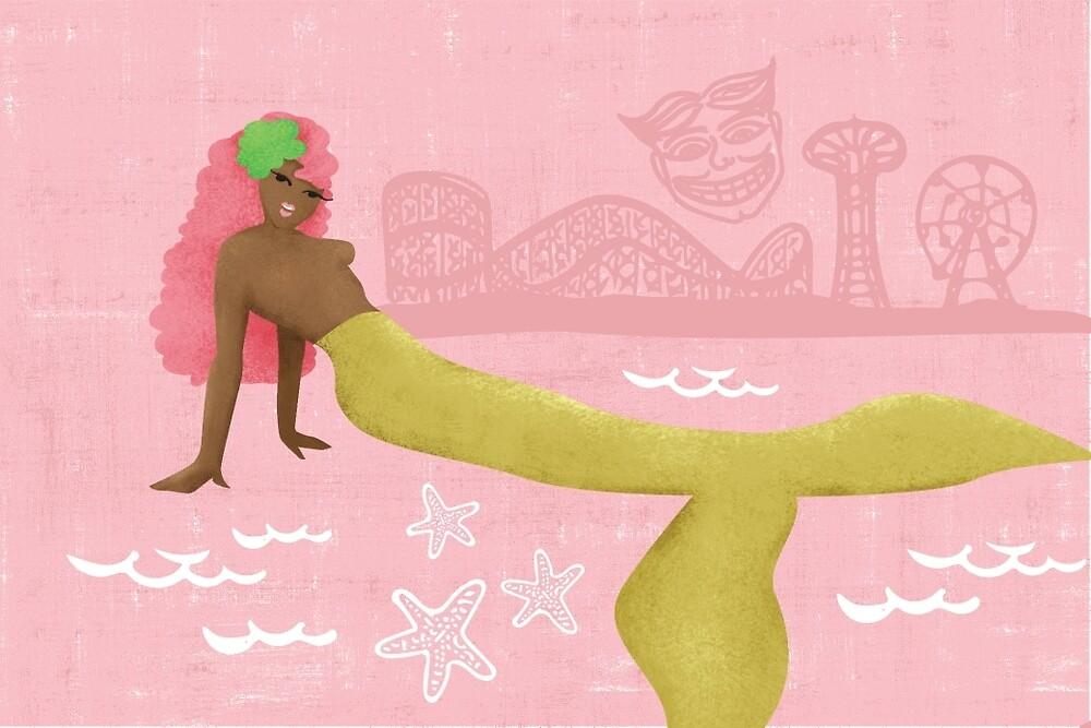 Coney Island Mermaid with Pink Hair by lasirenadesign