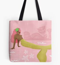 Coney Island Mermaid with Pink Hair Tote Bag