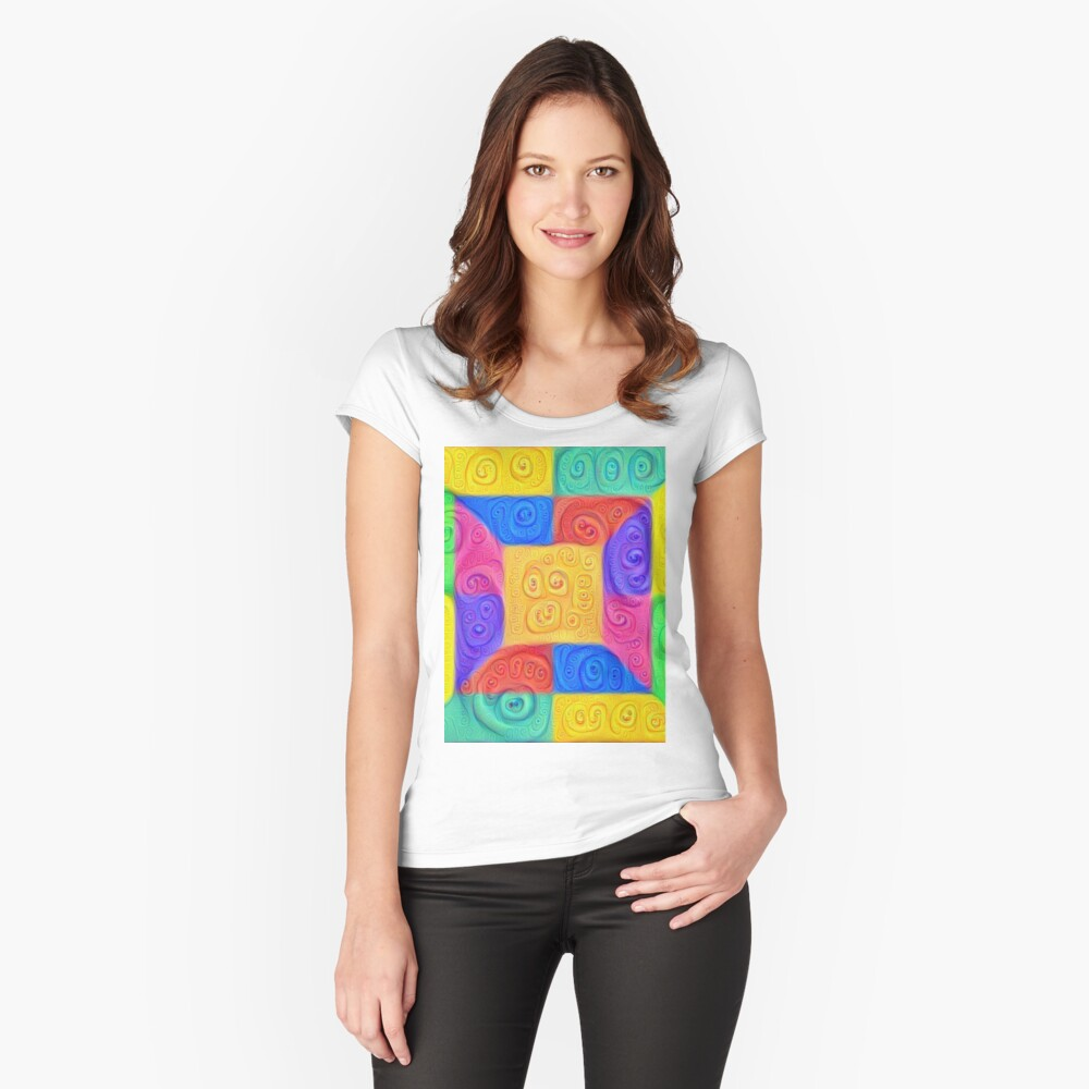 DeepDream Color Squares Visual Areas 2020+ Fitted Scoop T-Shirt