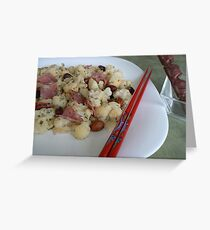 vege with sausage Chinese dish- healthy food:) Greeting Card