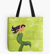 Coney Island Mermaid with Black Hair Tote Bag