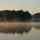 Lake, peninsula and fog by Antanas