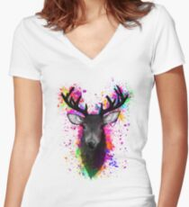 Stag Women's Fitted V-Neck T-Shirt