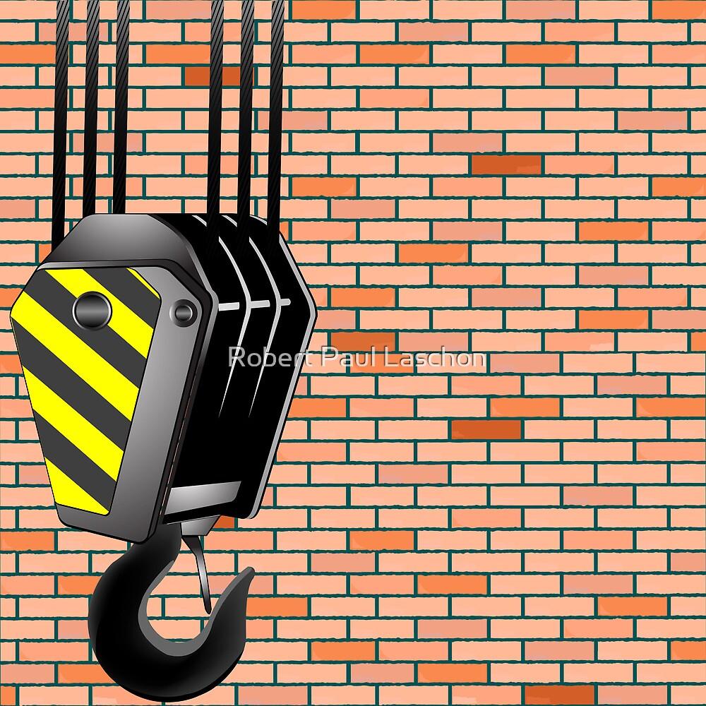 Crane hook over wall background by Laschon Robert Paul