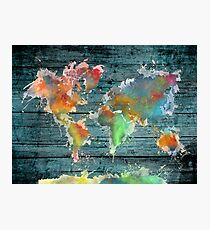 World map splash Photographic Print