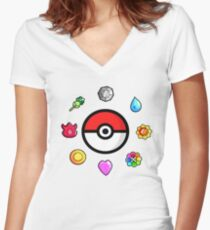 Pokemon Badges, first Generation Women's Fitted V-Neck T-Shirt