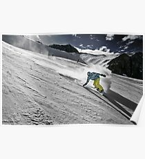 Snowboarding on Alpine slopes Poster