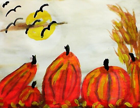 Falling for fall weather!, watercolor by Anna  Lewis, blind artist