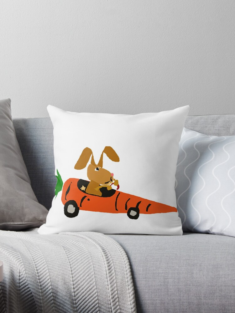 Hilarious Bunny Rabbit Driving Carrot Car Throw Pillows By