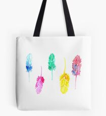 Rainbow Watercolor Feathers Tote Bag