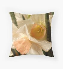 Small Wet Daffodils Throw Pillow