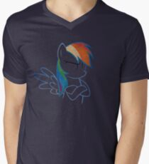 RainbowDash: Not amused Outline Mens V-Neck T-Shirt