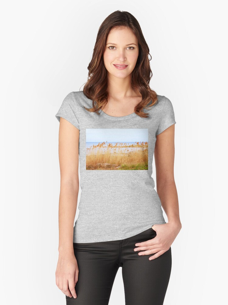 Afternoon at the Beach Women's Fitted Scoop T-Shirt Front