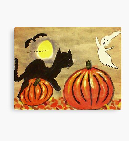 Kitty and Pumpkin battle it off, watercolor Canvas Print