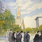 Corner of Swanston and Collins Streets Melbourne by Mrswillow