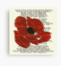 God save the Queen anthem over Poppie. Canvas Print