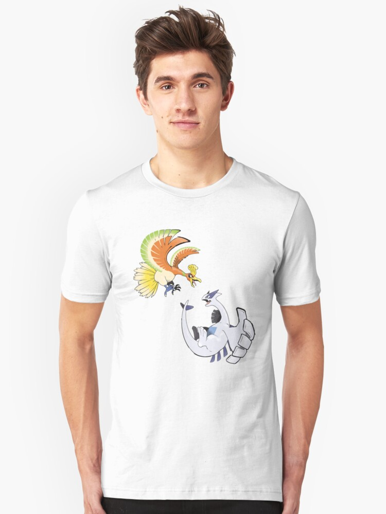 Ho-oh and Lugia - Pokemon Gold and Silver Unisex T-Shirt Front