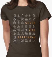 Never Stop Exploring Womens Fitted T-Shirt