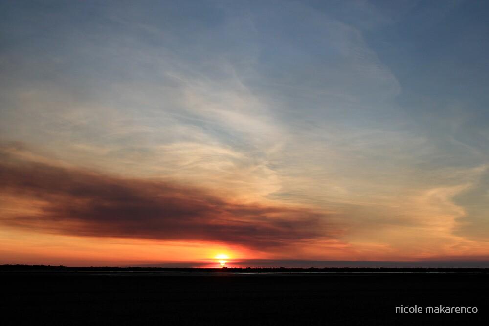 smoky sunset over the marsh  by nicole makarenco
