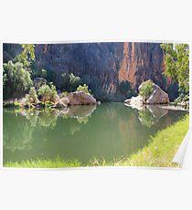 reflections on lennard river, windjana gorge  Poster