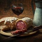 Still life with salami and sourdough by David Milnes