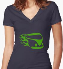Green Camper Women's Fitted V-Neck T-Shirt