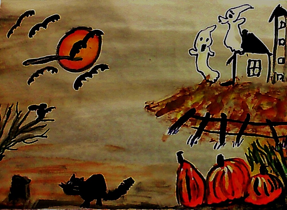 Spooky night #2( now darker, like #1), watercolor by Anna  Lewis, blind artist