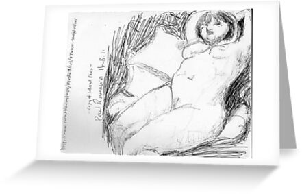 female nude/peaceful recliner -(140811)- copy of photo/pencil/A4 by paulramnora