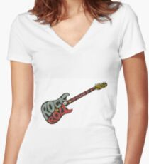 """""""Rock n roll"""" vintage poster. Rock and Roll guitar logo in retro style Women's Fitted V-Neck T-Shirt"""