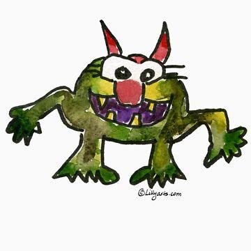 Funny Cartoon Monstar Monster 006 by Lillyarts