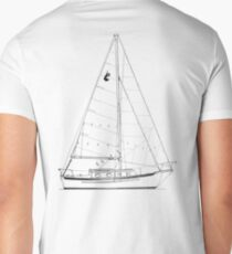 Dana 24 sail plan T shirt (printed on BACK) Men's V-Neck T-Shirt