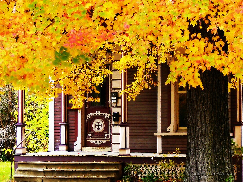 Fall Canopy Over Victorian Porch by Rodney Williams