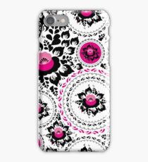 Vintage shabby Chic pattern with Pink and Black flowers  iPhone Case/Skin