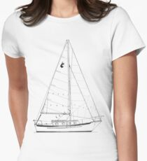 Dana 24 sail plan T shirt (Printed on FRONT) Women's Fitted T-Shirt