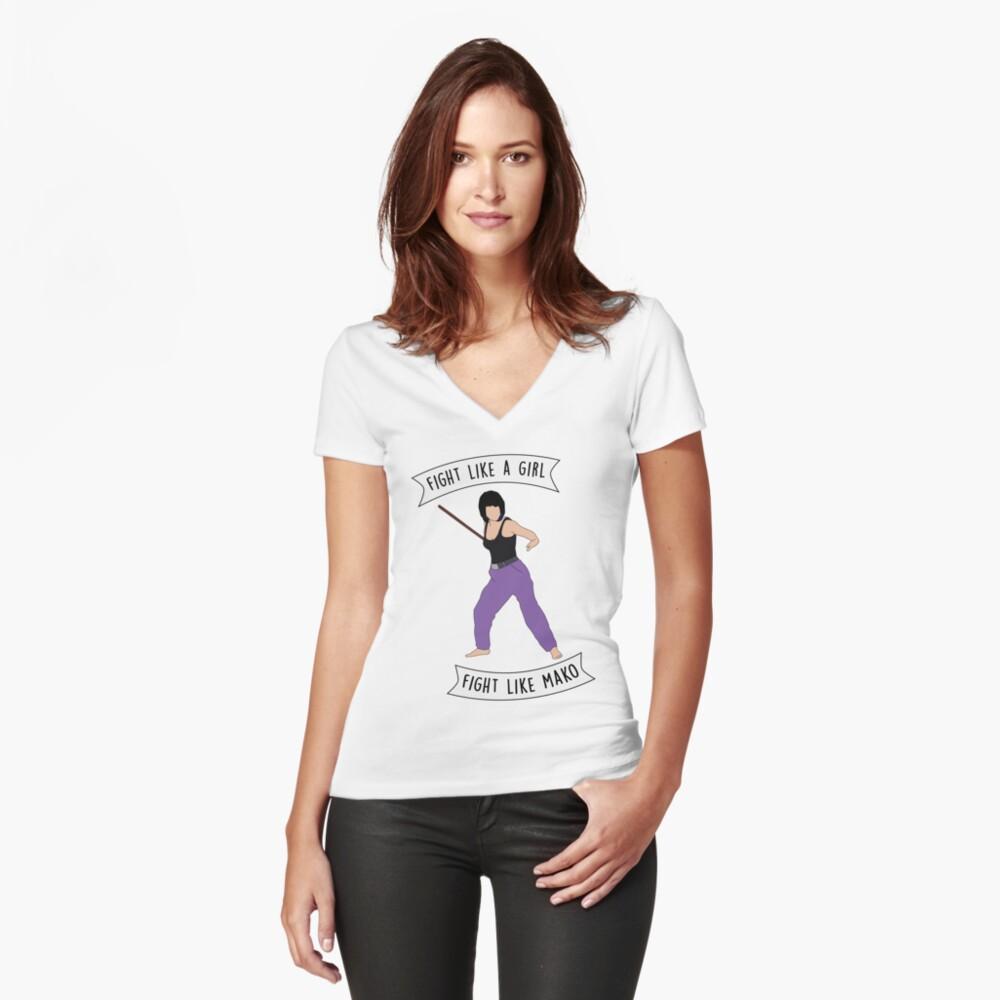 Fight like Mako Women's Fitted V-Neck T-Shirt Front