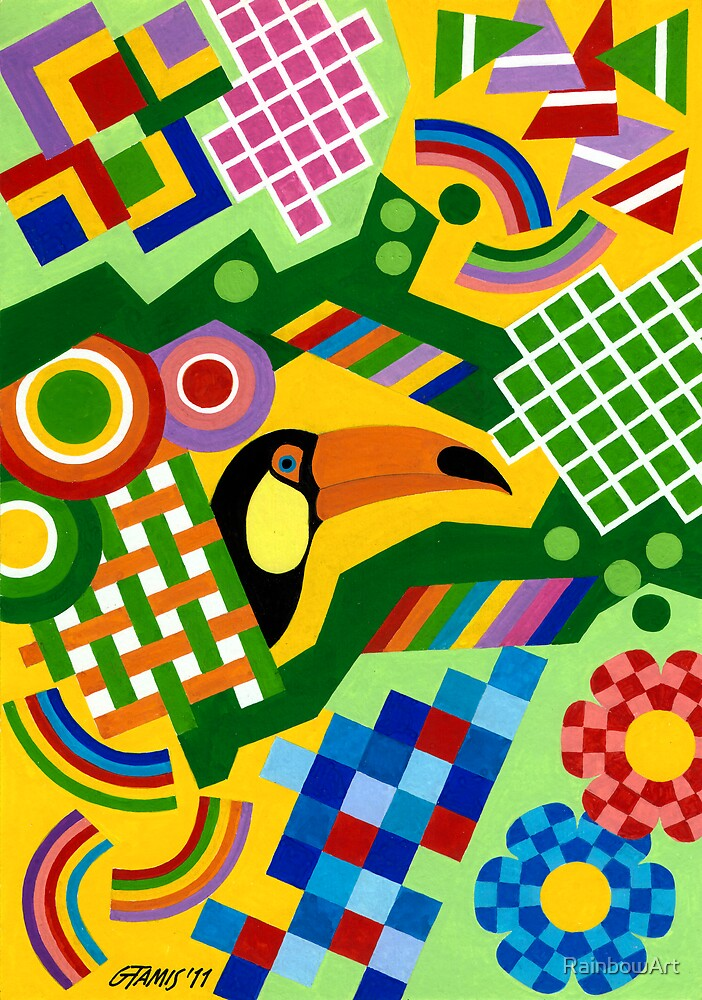 Colors And Shapes With Squars - Toekan - Brush And Gouache by RainbowArt