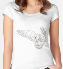 Owl hand drawn Women's Fitted Scoop T-Shirt