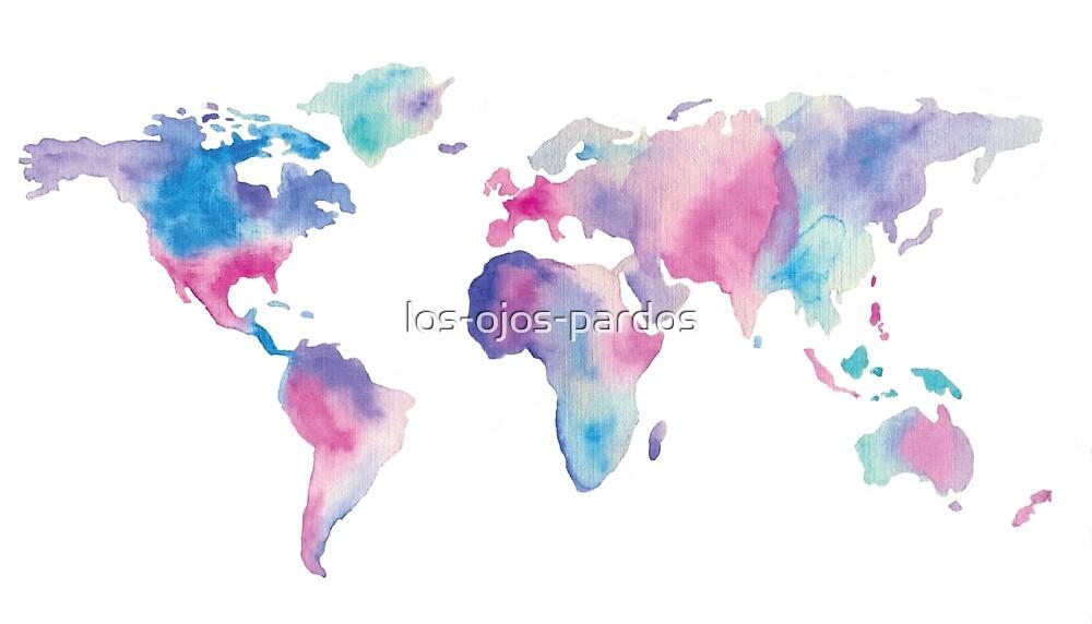 watercolor world map by los-ojos-pardos