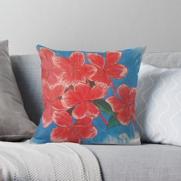Pink Flowers on Blue Throw Pillow