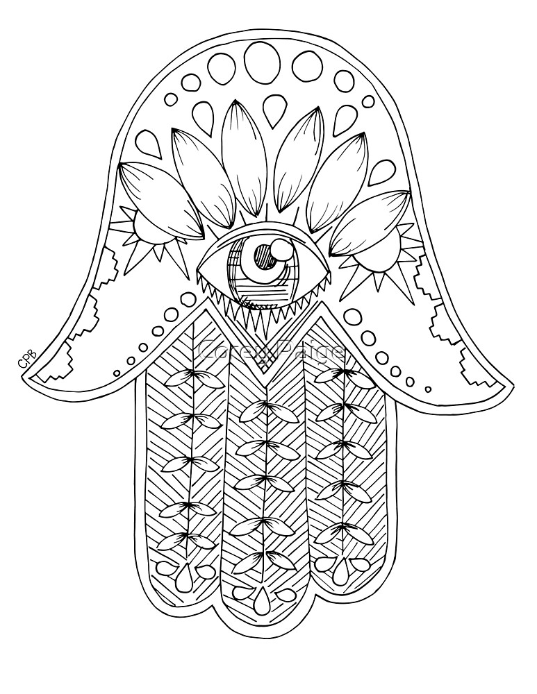 Detailed Hamsa by Corey Paige