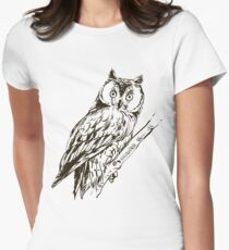 Owl hand drawn Womens Fitted T-Shirt