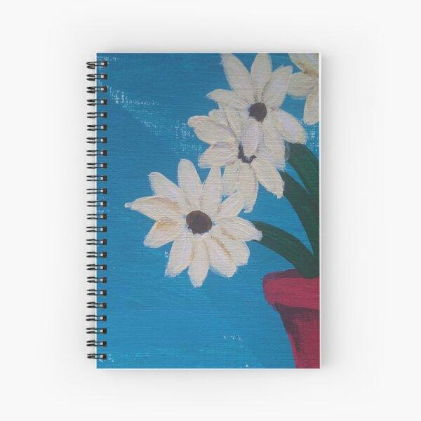 Cream Flowers in Red Vase Spiral Notebook