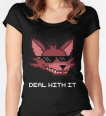 Five Nights at Freddy's - FNAF - Foxy - Deal With It (White Font) Women's Fitted Scoop T-Shirt