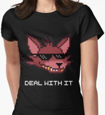 Five Nights at Freddy's - FNAF - Foxy - Deal With It (White Font) Women's Fitted T-Shirt