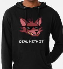 Five Nights at Freddy's - FNAF - Foxy - Deal With It (White Font) Lightweight Hoodie
