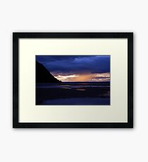 Purple sunset Conwy beach Framed Print