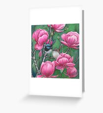 """""""Superb Blue Wren Couple with Magnolias"""" Greeting Card"""