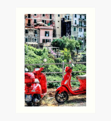 2 Red Scooters Art Print