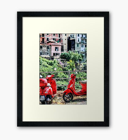 2 Red Scooters Framed Print