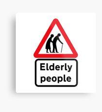 Ältere Menschen, Verkehrszeichen, Großbritannien Metallbild